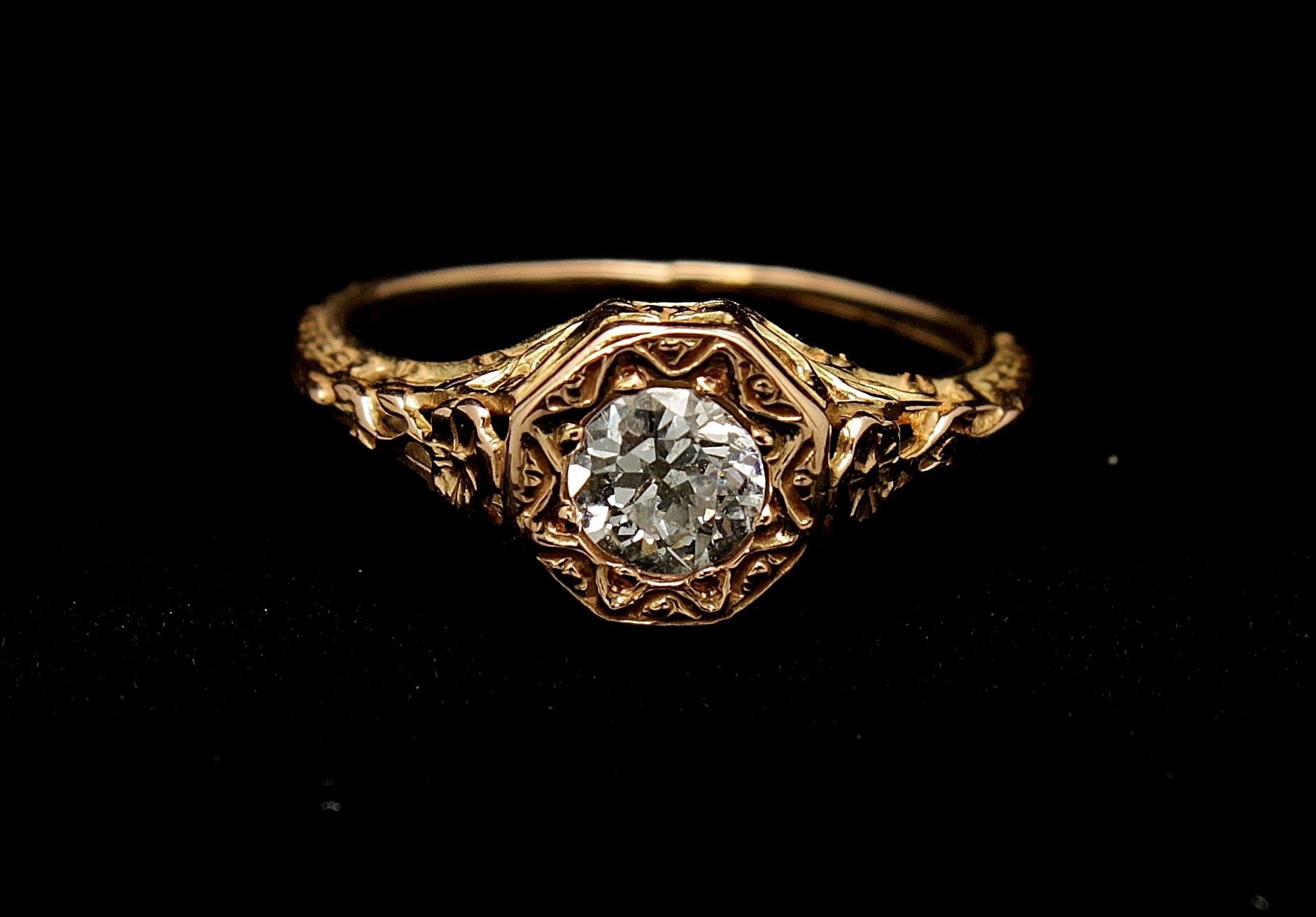 Antique 14kt Diamond Old Mine Cut .70cts Ring