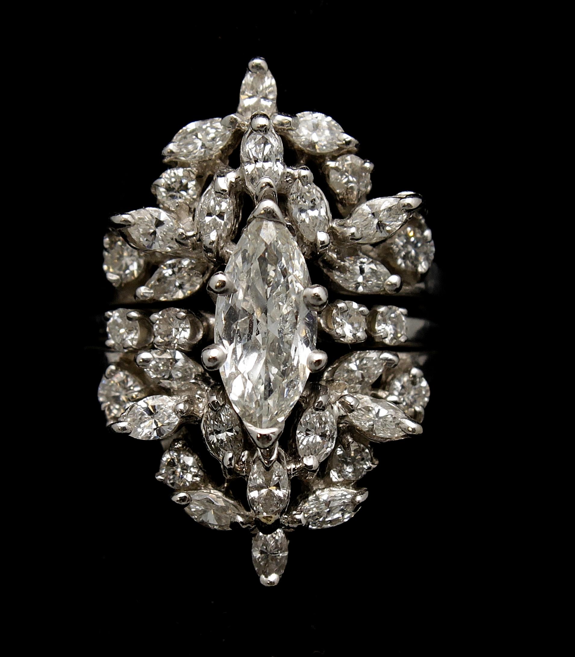 Vintage 14kt Diamond 4.05cts Ring