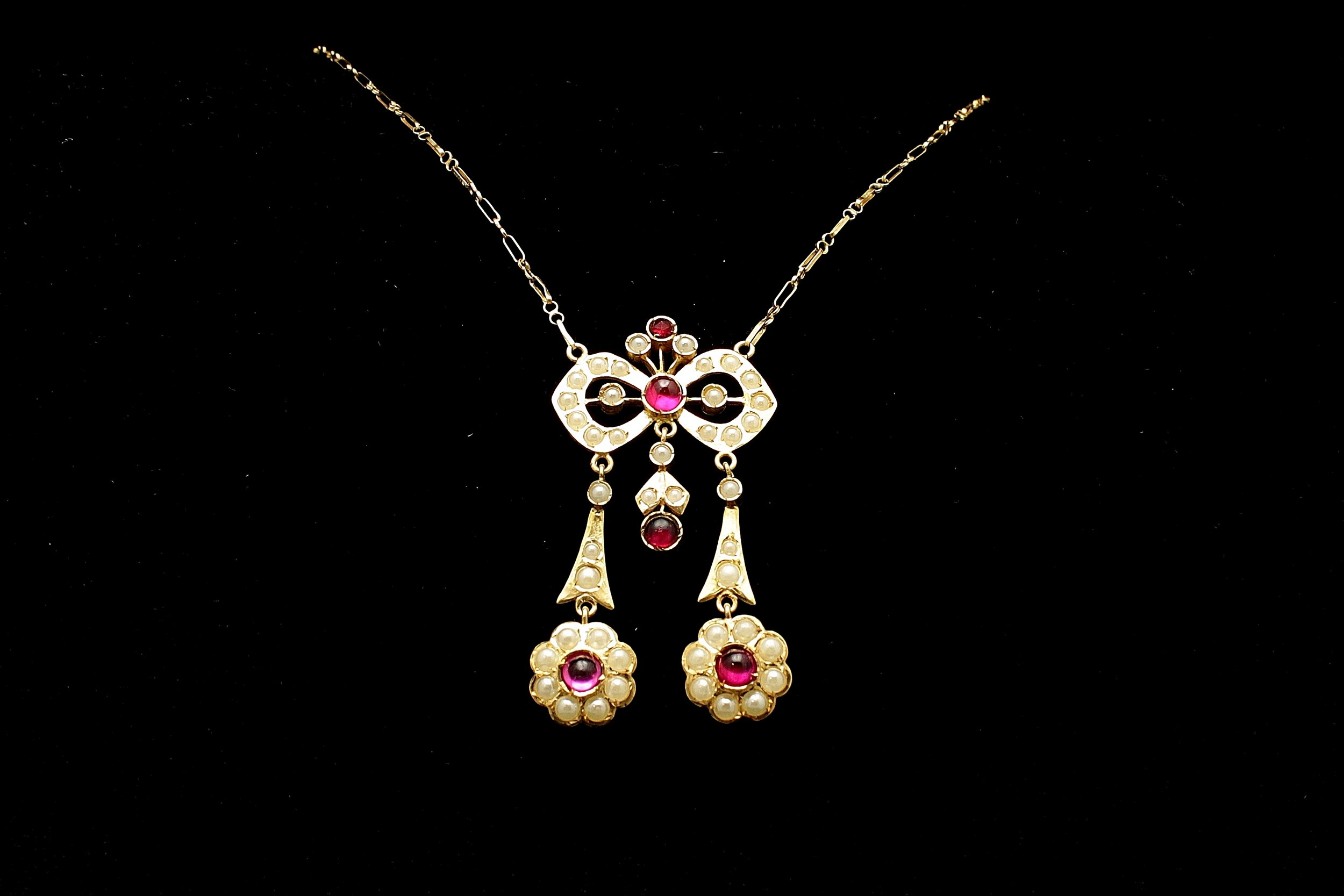 Antique 18kt Ruby and Pearl Necklace