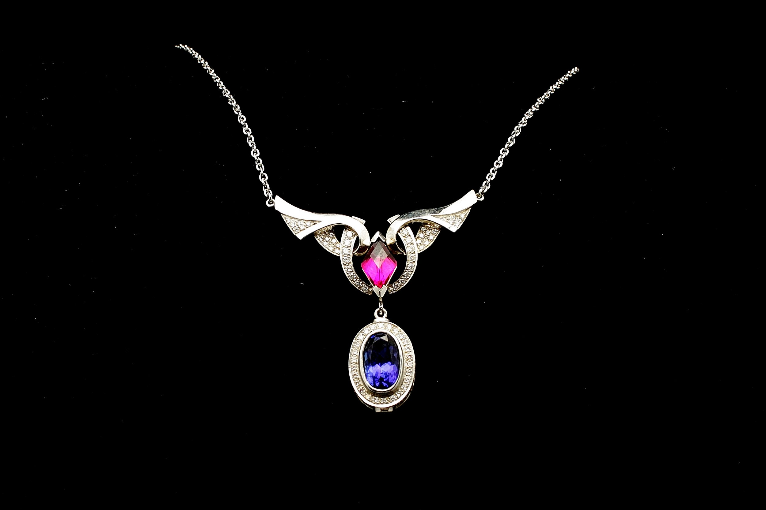 Vintage Platinum Diamond Tanzanite Tourmaline Necklace