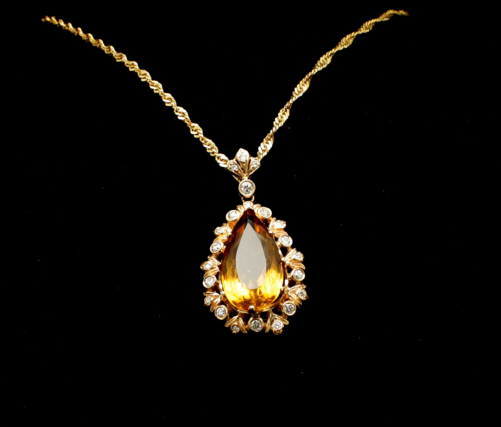Vintage Topaz Diamond Necklace