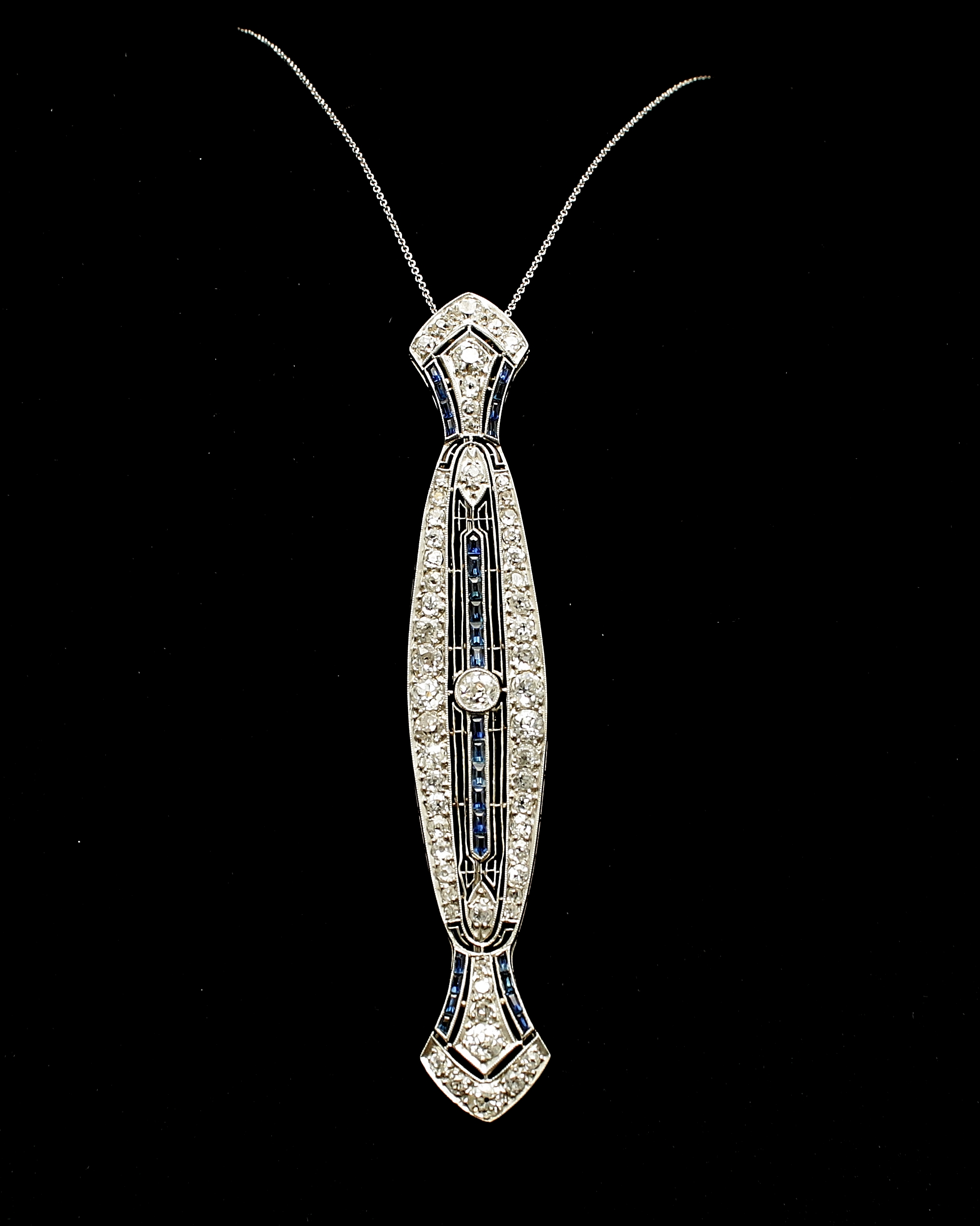 Antique Platinum Diamond Sapphire Necklace