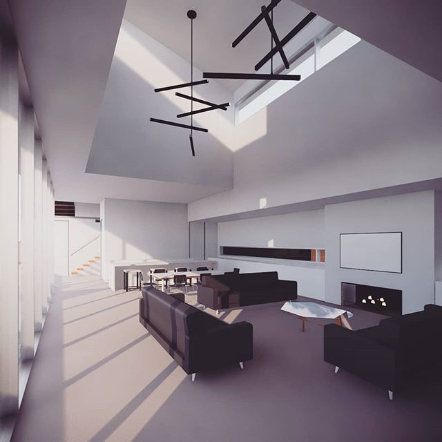 Sneak peak of a new residential design in progress.  #archdaily #architecture #melbourneinteriors #melbournearchitecture #livingroom #kitchendesign #lighting #residentialarchitecture