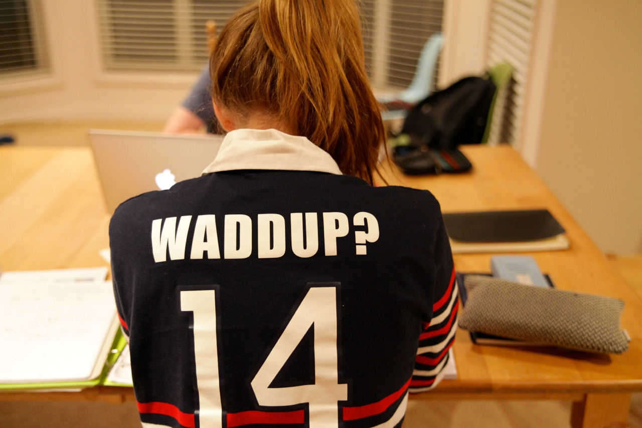 All the Year 12 girls get rugby shirts as part of the school's tradition. Maddy chose to just embrace the way everyone loves to invoke our name (and they usually think they're the first one to ever think of it, ha!)