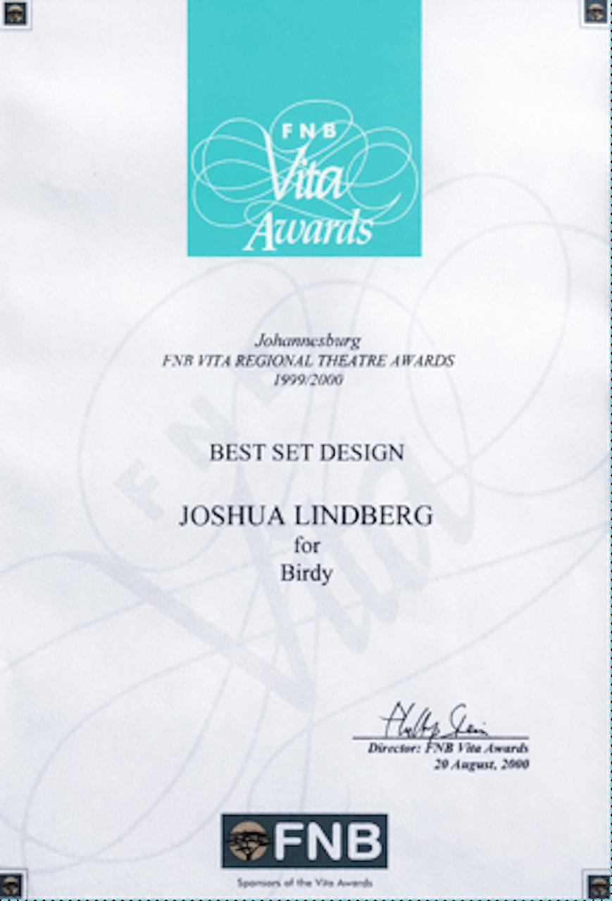 "Best Set Design Award ""Birdy""."