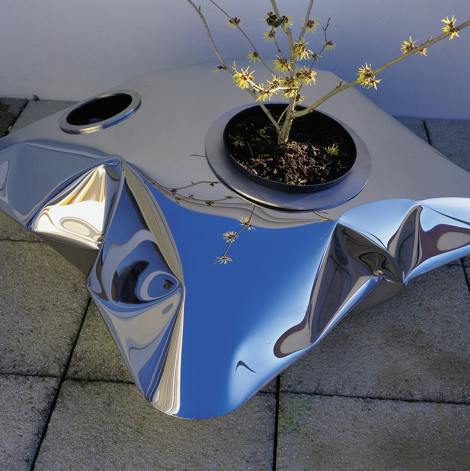 P    illow Planters   Blown mirror polished stainless steel table (please see our  collection  for further details)