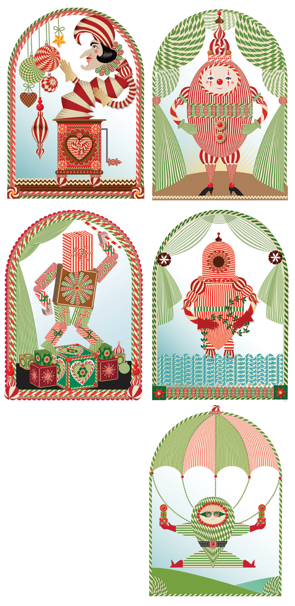 "Five Advent Guys from 2012 Advent Calendar project, ""Gingerbread Advent"", Q. Cassetti, 2012, Adobe Illustrator CS%"