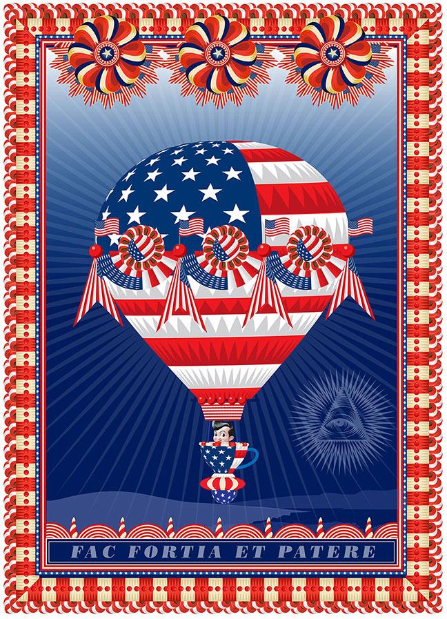 My America:  Do Brave Deeds and Endur  e , Q. Cassetti, 2013, Trumansburg, NY, Adobe Illustrator CC