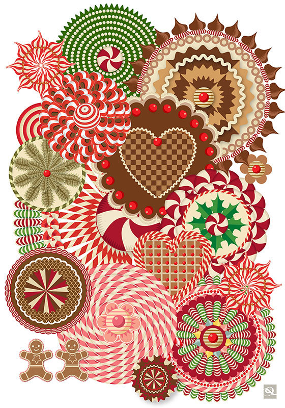 Advent 2013: Day Five: Holiday Biscuits  Q. Cassetti, 2013  Trumansburg, NY Adobe Illustrator CC