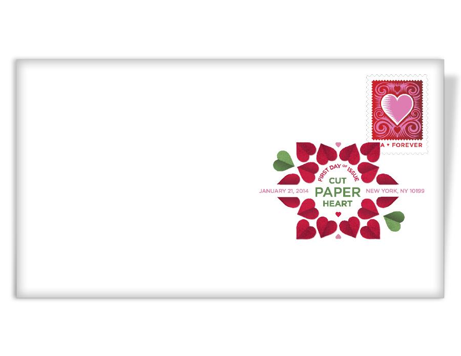 Cut Paper Heart Digital Color Postmark