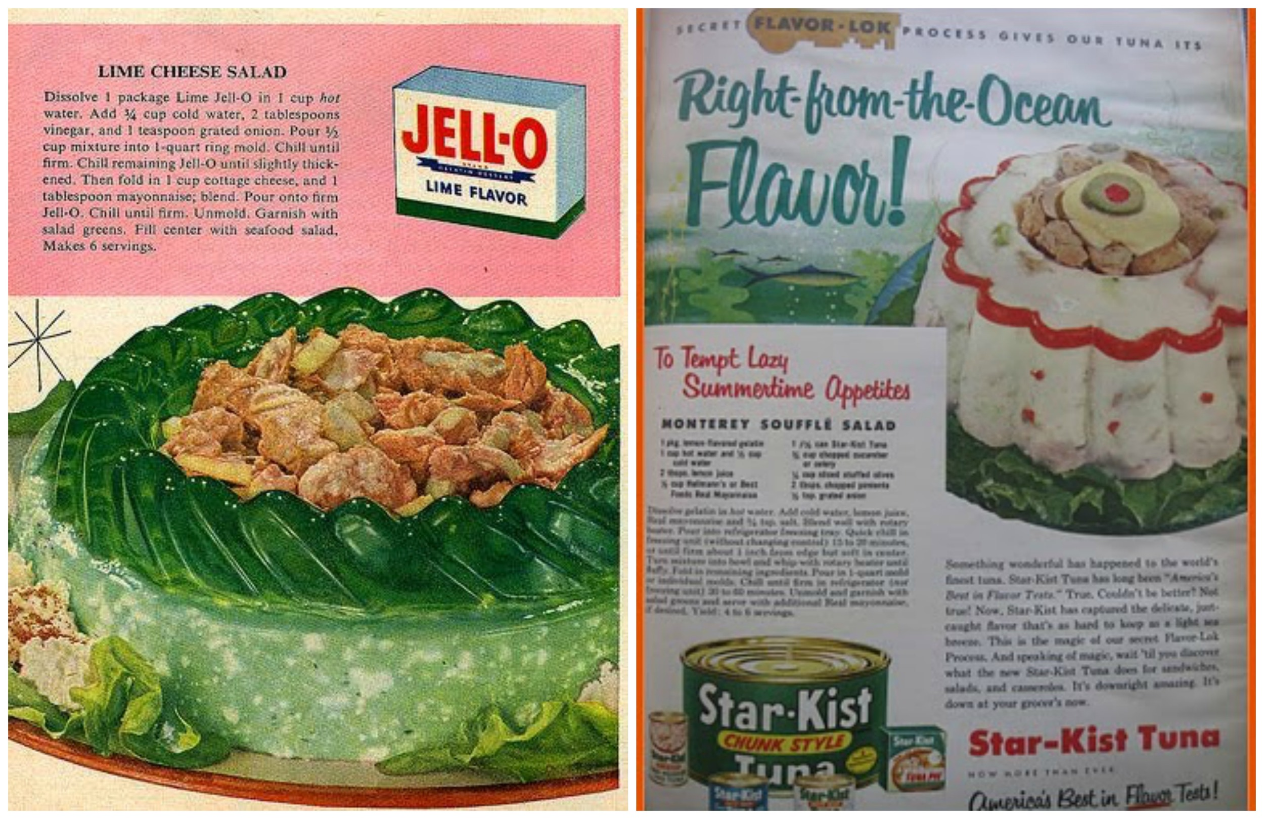 """I am throwing up just a little bit in my mouth over the lime jello filled with """"seafood salad"""" (TUNA). And it doesnt even look good though the image on the right is a direct relation to Cold Set / Jambon Chaud Froid...only poor man version as it is simple to do but equally as showy. Please do not tempt my summertime appetite with this horror."""