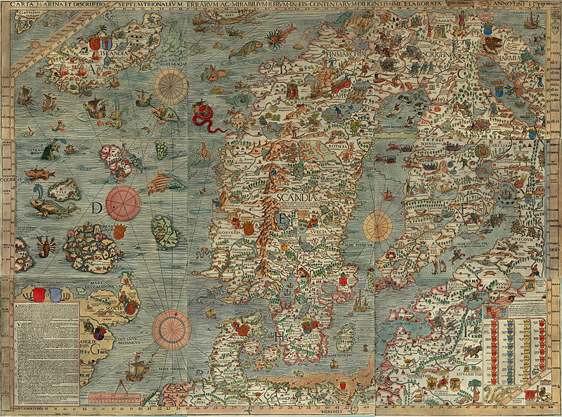 "The   Carta marina   (  Latin   ""map of the sea"" or ""sea map""),  [1]   drawn by   Olaus Magnus   in 1527-39, is the earliest map of the   Nordic countries   that gives details and placenames. Only two earlier maps of  Scandinavia   are known, those of   Jacob Ziegler  (Strasbourg, 1532) and   Claudius Clavus   (15th century)."