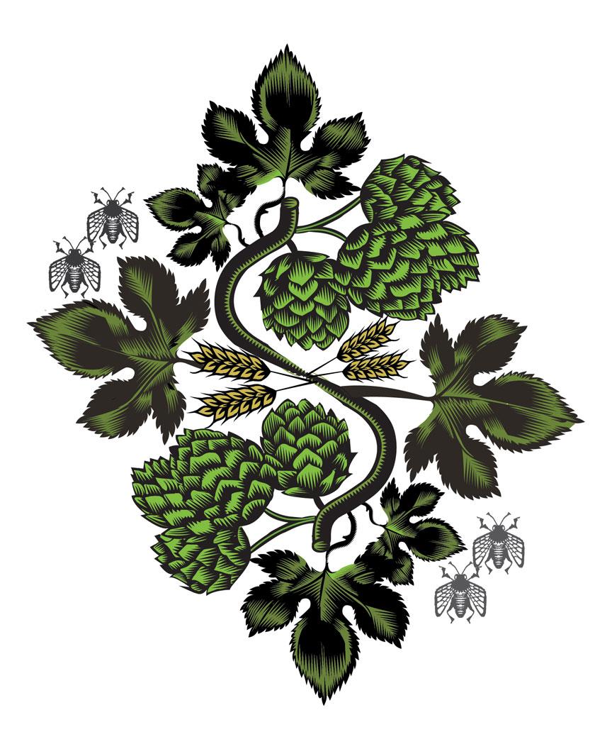 In Pursuit of Hops, Q. Cassetti, 2014, Adobe Illustrator CC