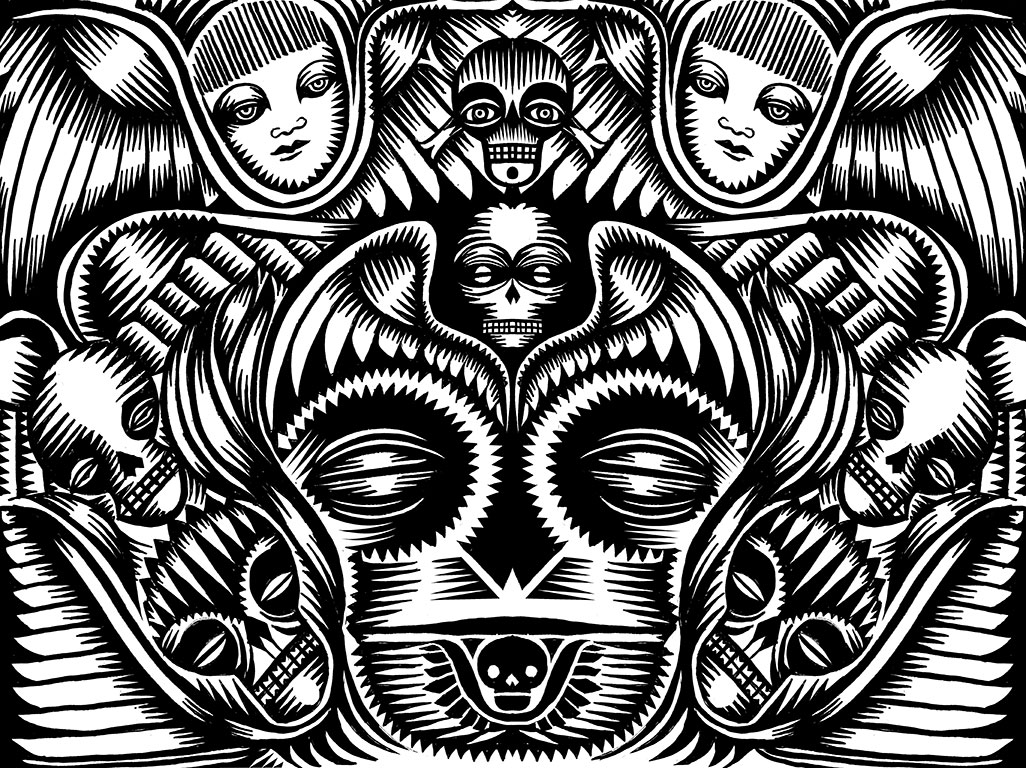 Memento Mori, Q. Cassetti, 2014, pen and ink with digital enhancement.