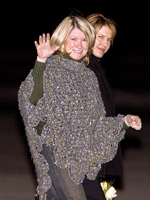 "Martha Stewart wearing the famous, ""I made this myself, get out of jail poncho"", high priestess of the American Crafters."