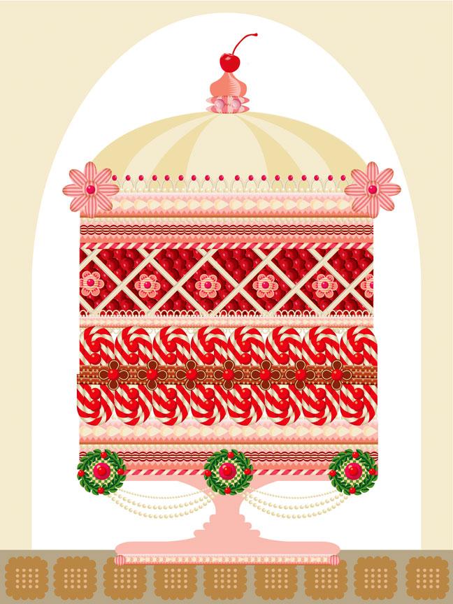 Advent 2014, Day 16: Christmas Cake Inspired by Jules Gouffre (  http://qcassetti.com/  rongovianacademy/2014/11/  18/  ce5fzbi06kl4fjmhck2z67qr1kz xmm ) Q. Cassetti, 2014 Adobe Illustrator CC 2014