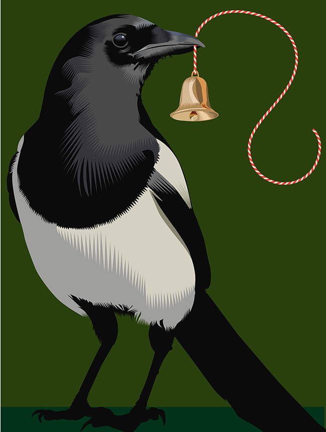 Advent 2015: Day 6   Magpie: All that glitters is not gold   Q. Cassetti, 2015