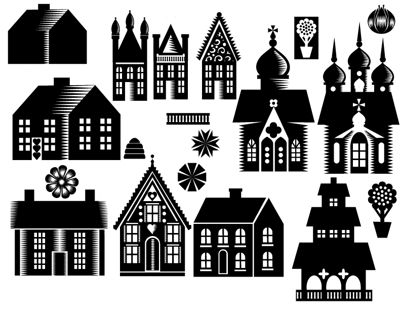 Sketch process for little houses and elements. Q. Cassetti 2016, Adobe Illustrator