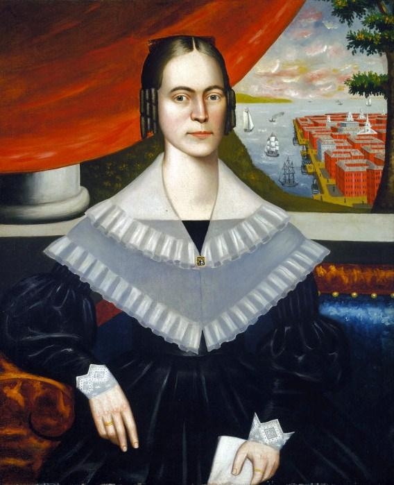 a Erastus Salisbury Field (1805–1900) Portrait of a Woman said to be Clarissa Gallond Cook in front of a Cityscape.jpg