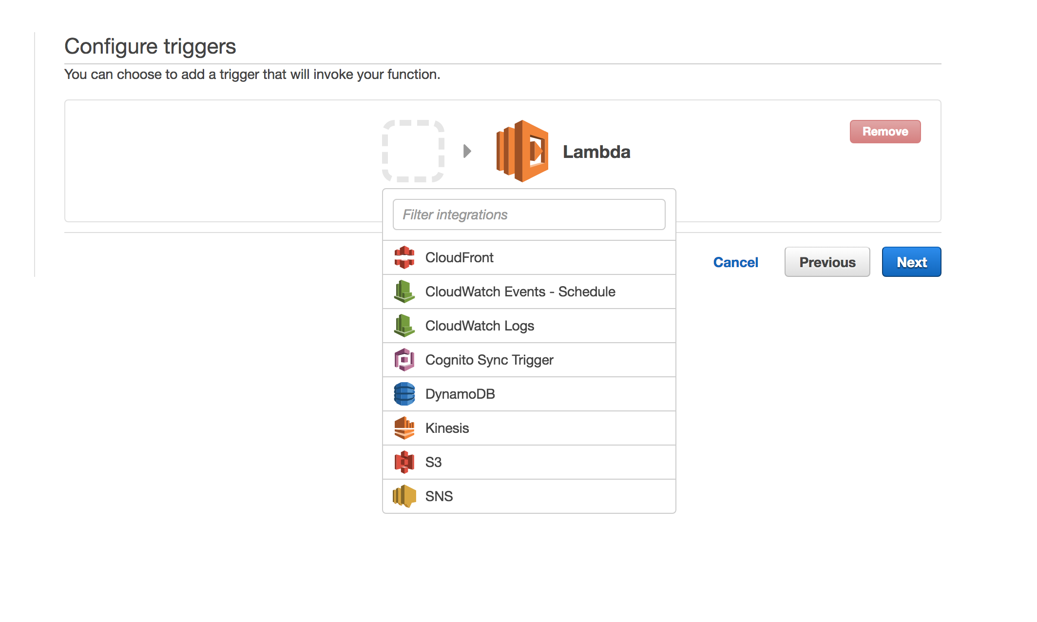 Image 1: select S3 from the AWS service list to define a trigger