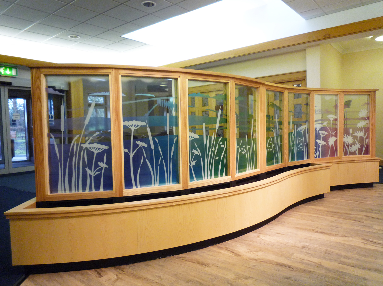 Glass screen in Main entrance, Pilgrim's Hospice, Ashford.