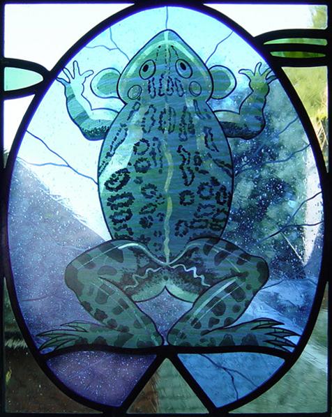 Detail of frog bathroom window, Selling, Kent.