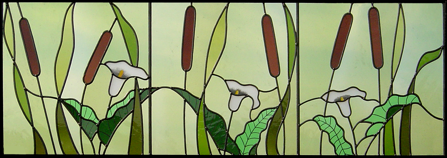 Lilies and Bulrushes window. Crowborough, East Sussex.