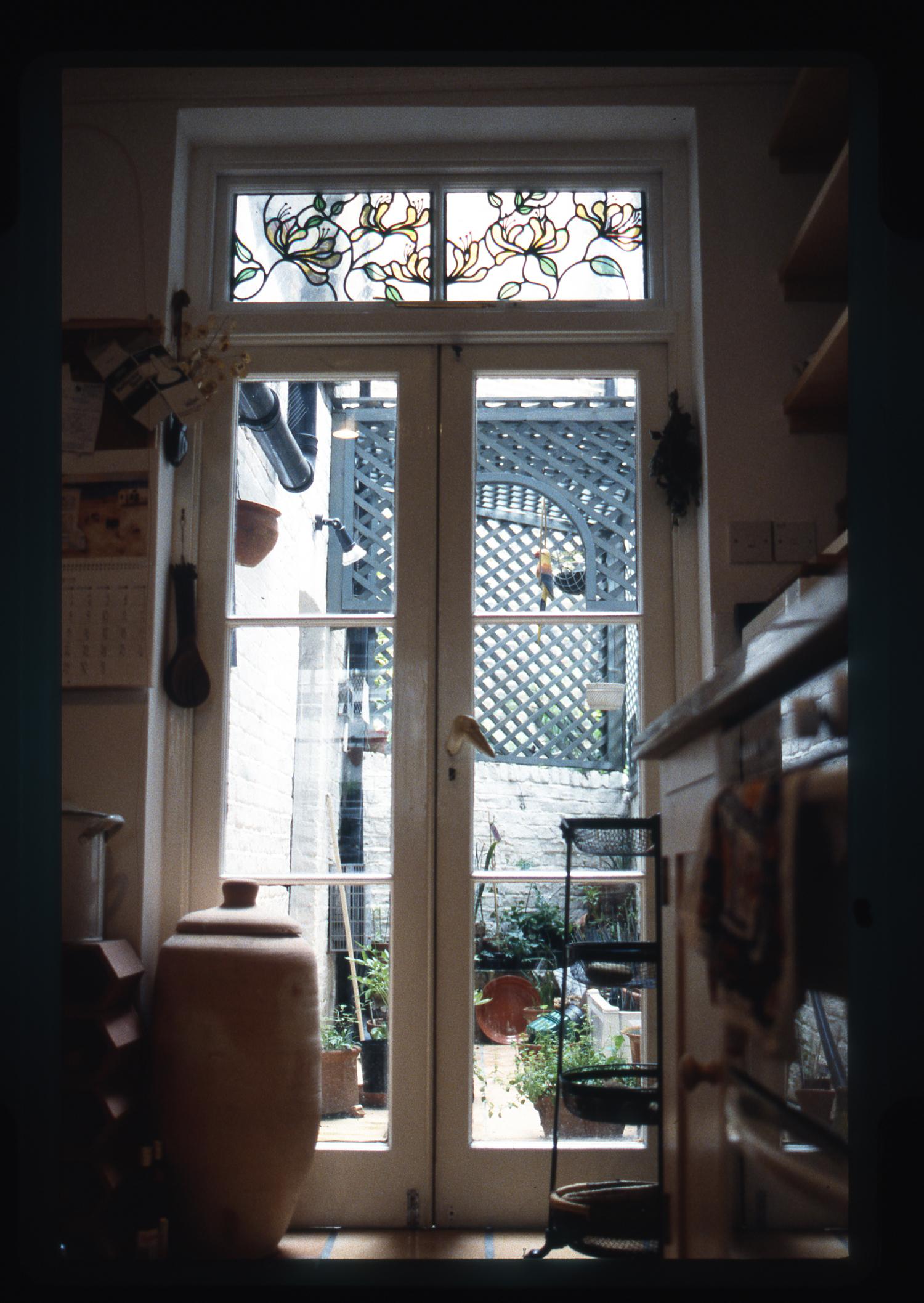 Honeysuckle toplight in kitchen, Pimlico, London.
