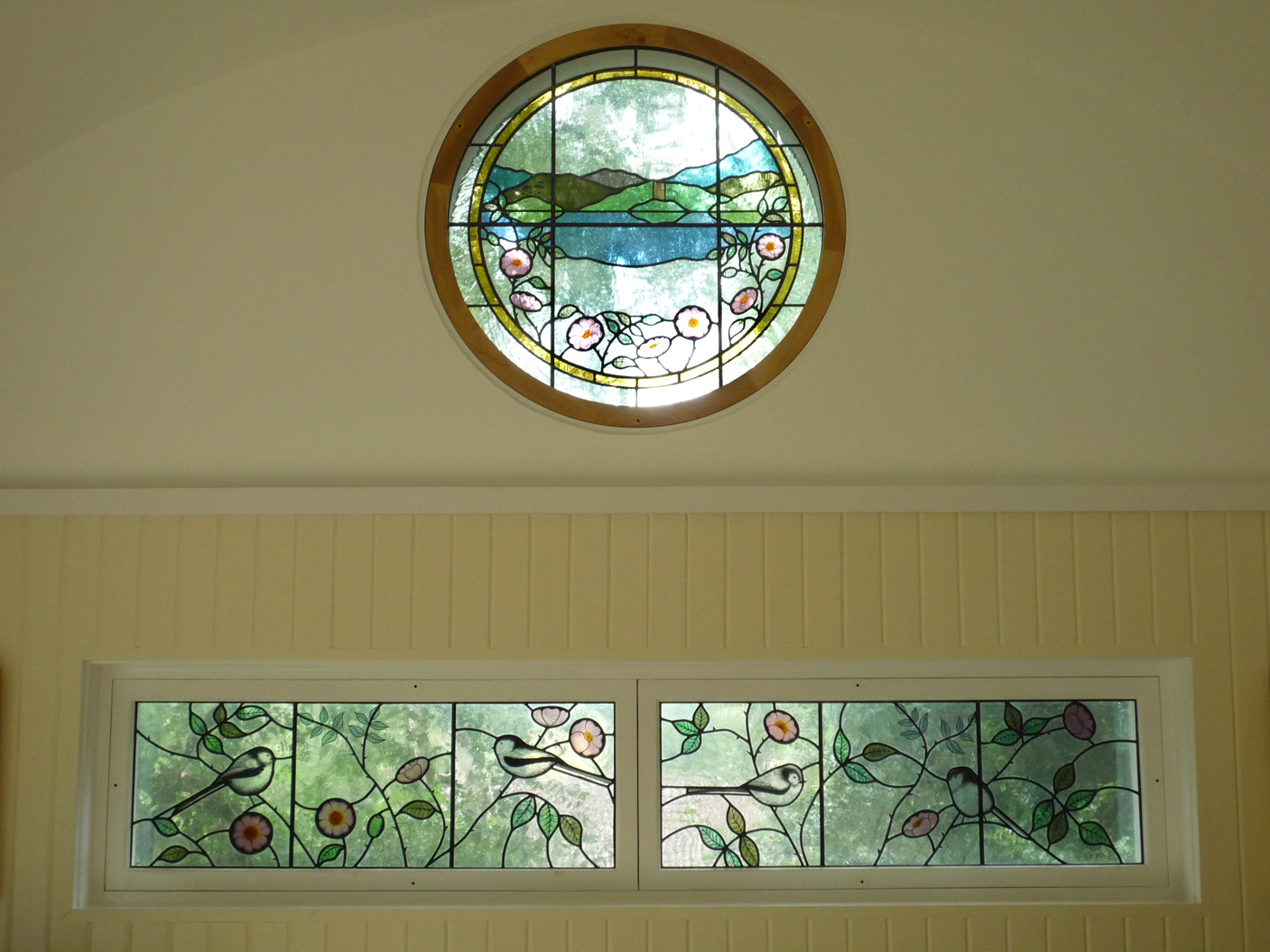 Craigevar Castle window and Briar Roses and Long-tailed tits window, Tunbridge Wells, Kent.