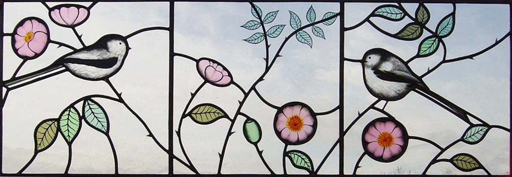 Detail of Briar Roses and Long-tailed tits window, Tunbridge Wells, Kent.