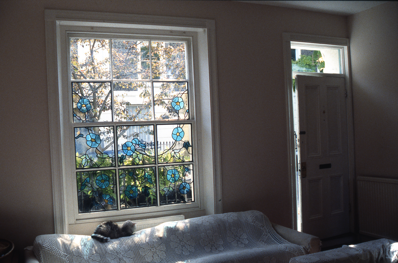 Morning glory window, Primrose Hill, London.