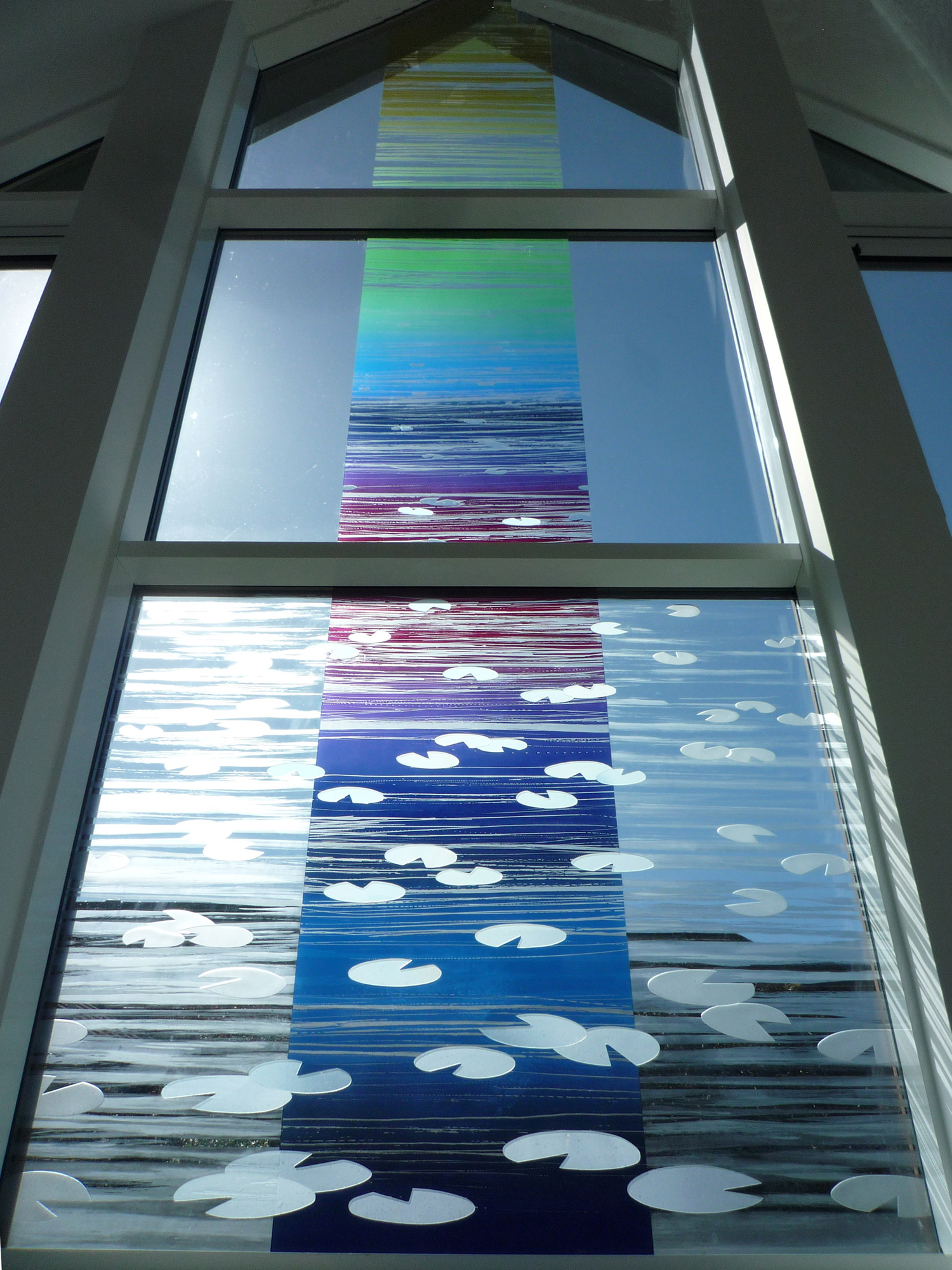 Detail of Colour Flow' Glass wall of Sacred Space, Martlets Hospice, Hove.