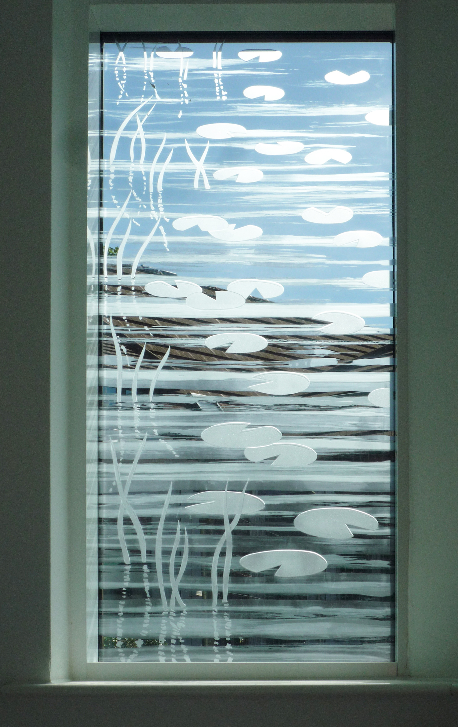 Detail of 'Colour Flow' Glass wall of Sacred Space, Martlets Hospice, Hove.