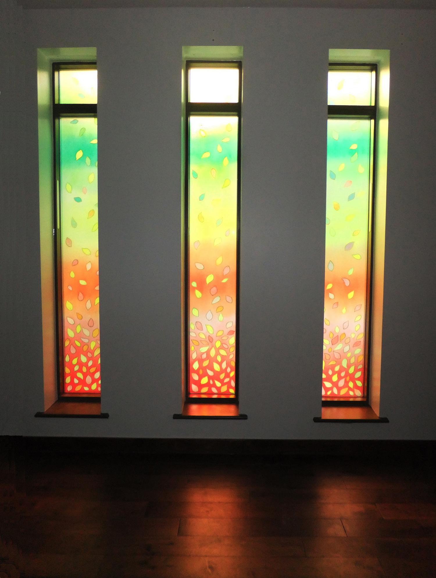 'Golden Green' Windows in Quiet Room, Marie Curie West Midlands Hopsice, Solihull.