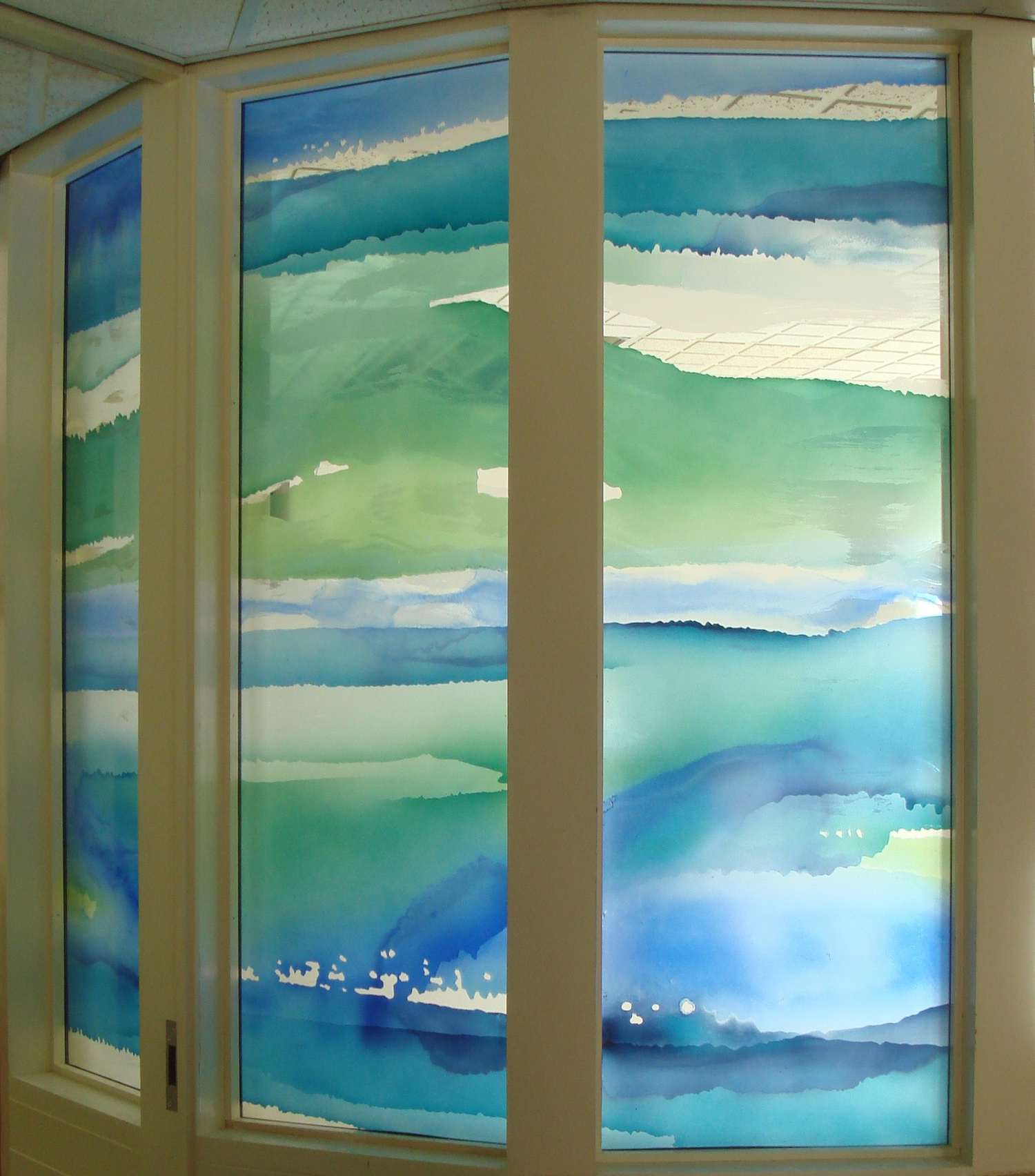 Detail of screen in Reception in Abraham Cowley Mental Health Unit. Langley and Borders MH NHS Trust. Chertsey.
