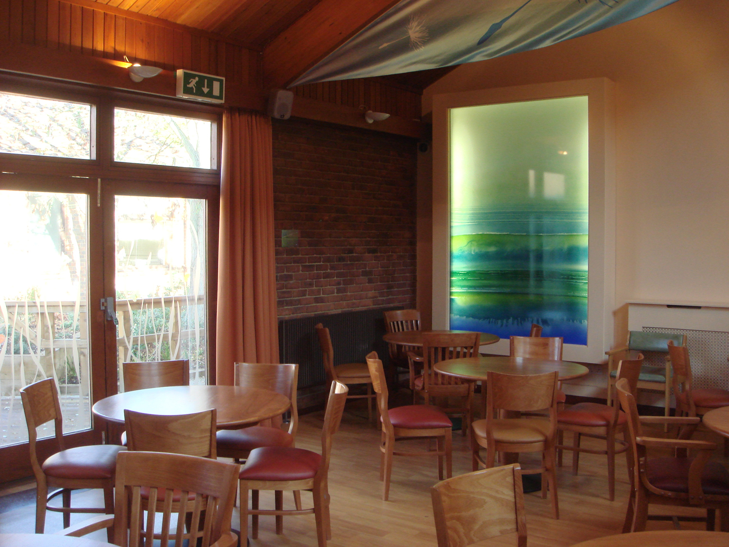 Lightbox in restaurant, Abraham Cowley Mental Health Unit. Langley and Borders MH NHS Trust. Chertsey.