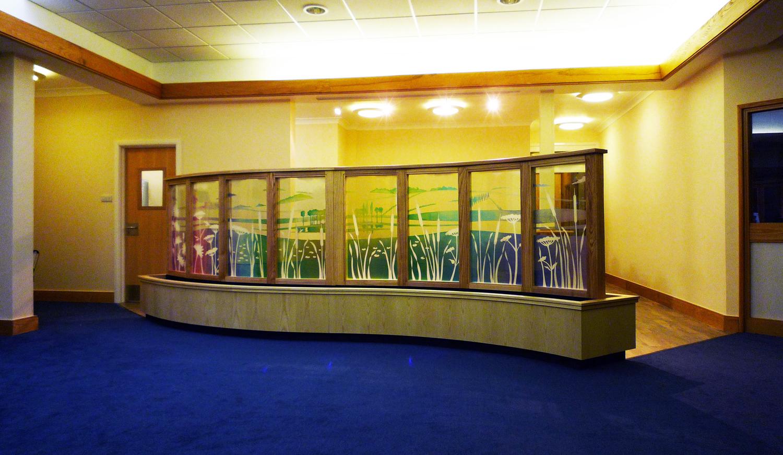 Glass screen, Pilgrim's Hospice, Ashford, Kent.