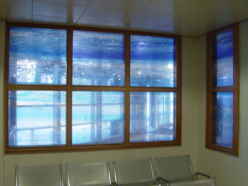 Windows in A&E waiting room, Liverpool Royal Hospital.