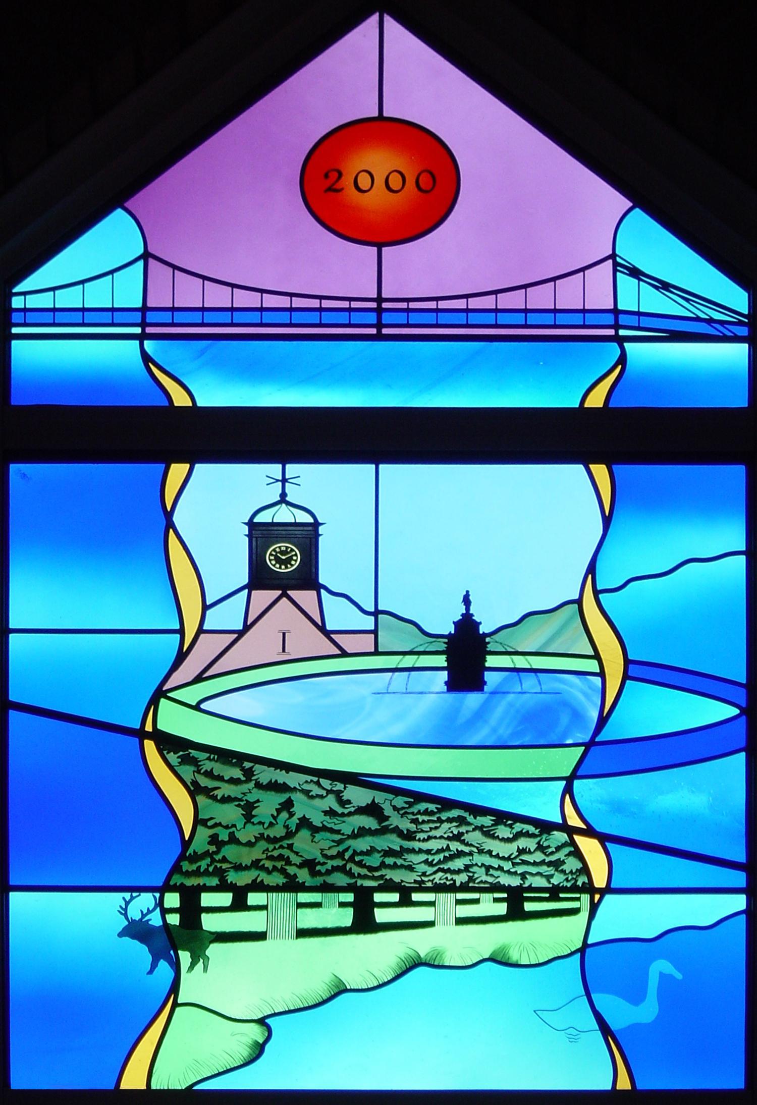 Detail of Millenium window for Teddington Memorial Hospital Chapel, Middlesex.
