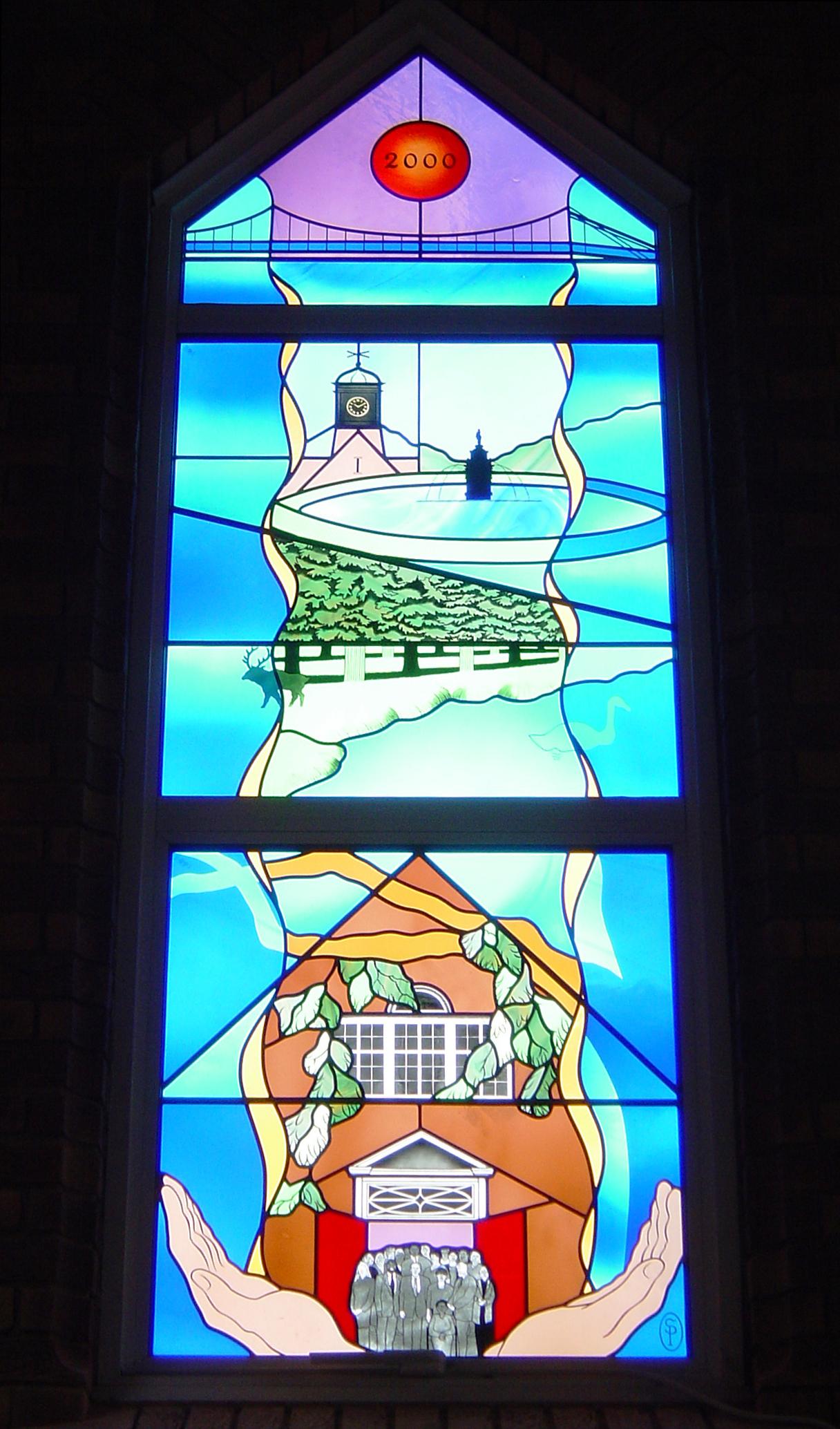 Millenium window in chapel, Teddington Memorial Hospital, Middlesex.