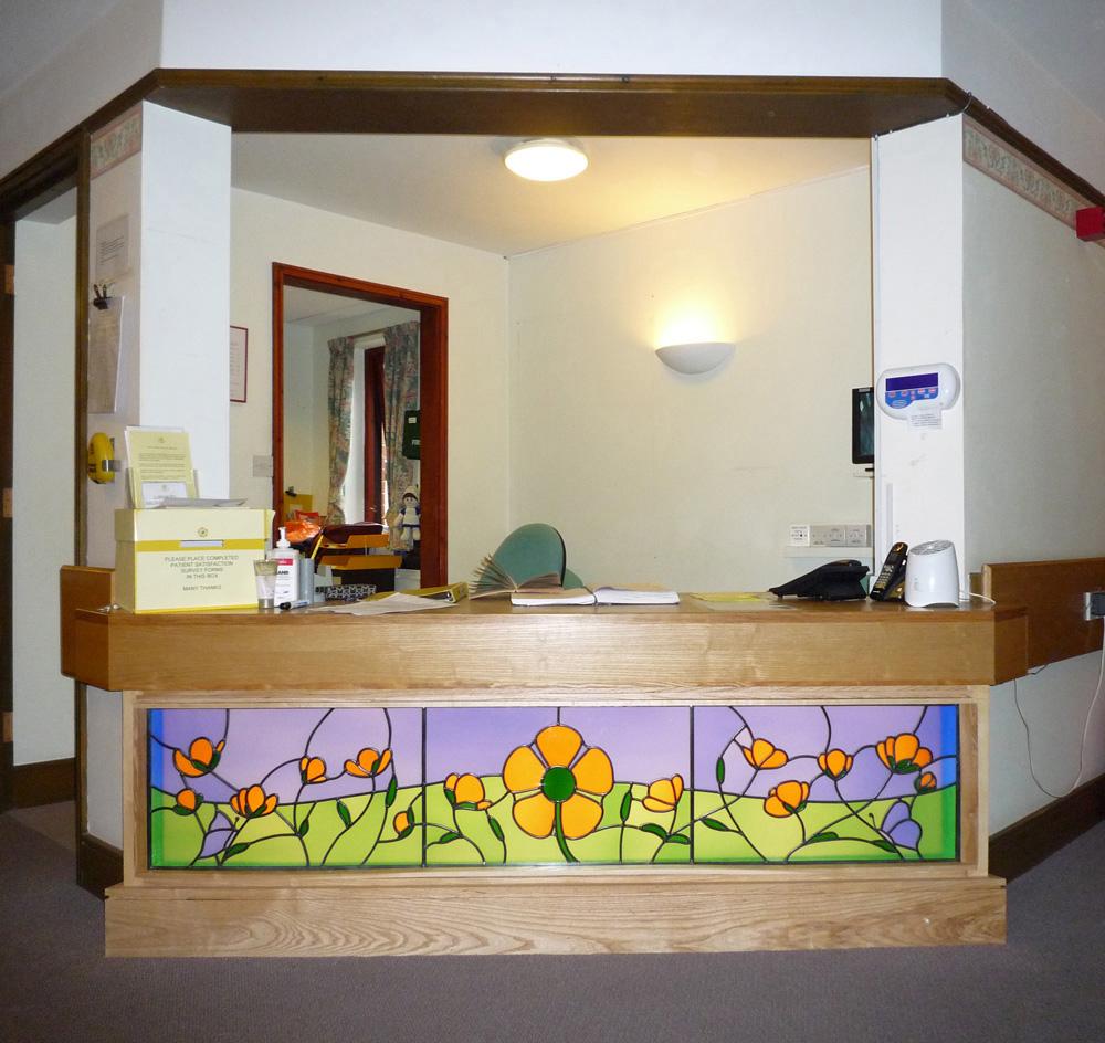 Glass light-box in internal reception, Heart of Kent Hospice, Aylesford, Kent.