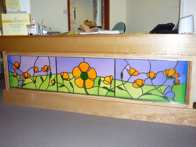 Glass for internal Reception Desk in Heart of Kent Hospice, Aylesford, Kent