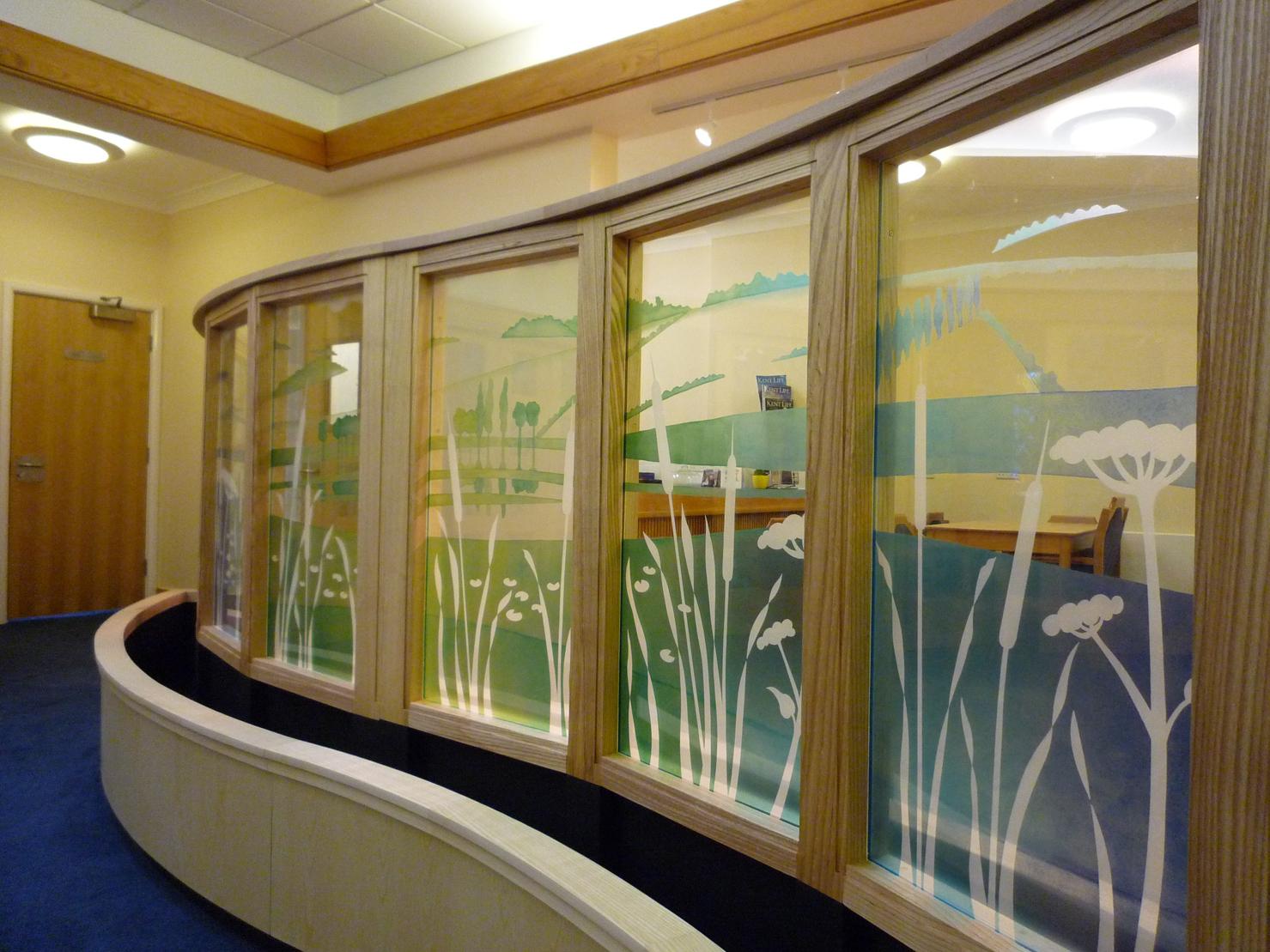 Detail of glass screen for main entrance area Pilgrim's Hospice, Ashford, Kent.