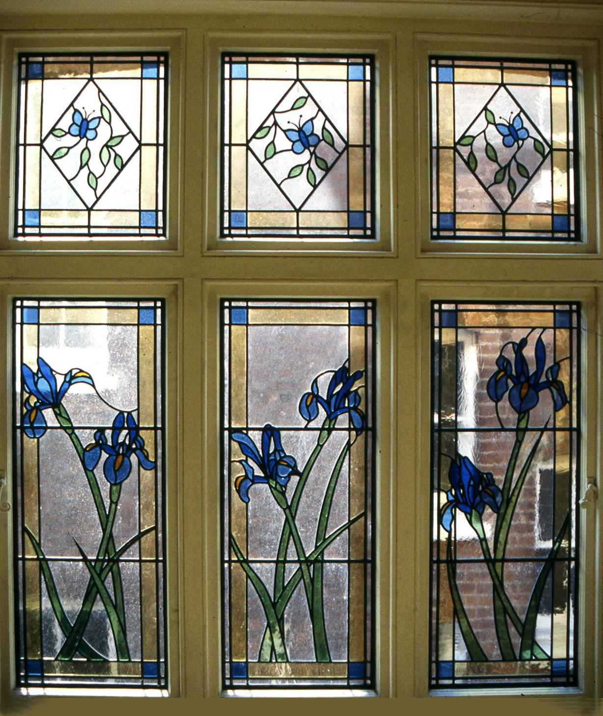 Irises window on stairs. Putney, London.