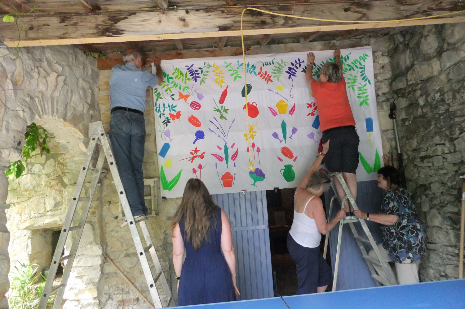 Putting up the big Matisse cut-out
