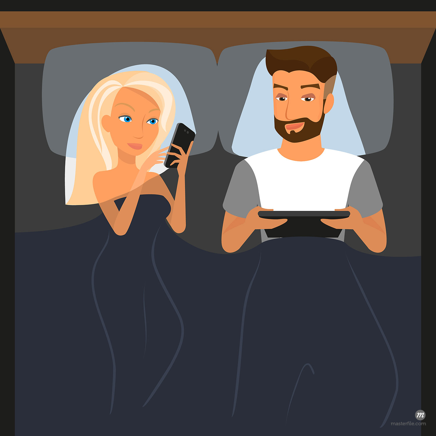 Happy couple using digital devices in bed at night  ©Julia_Tim / Masterfile (in  Vectors )