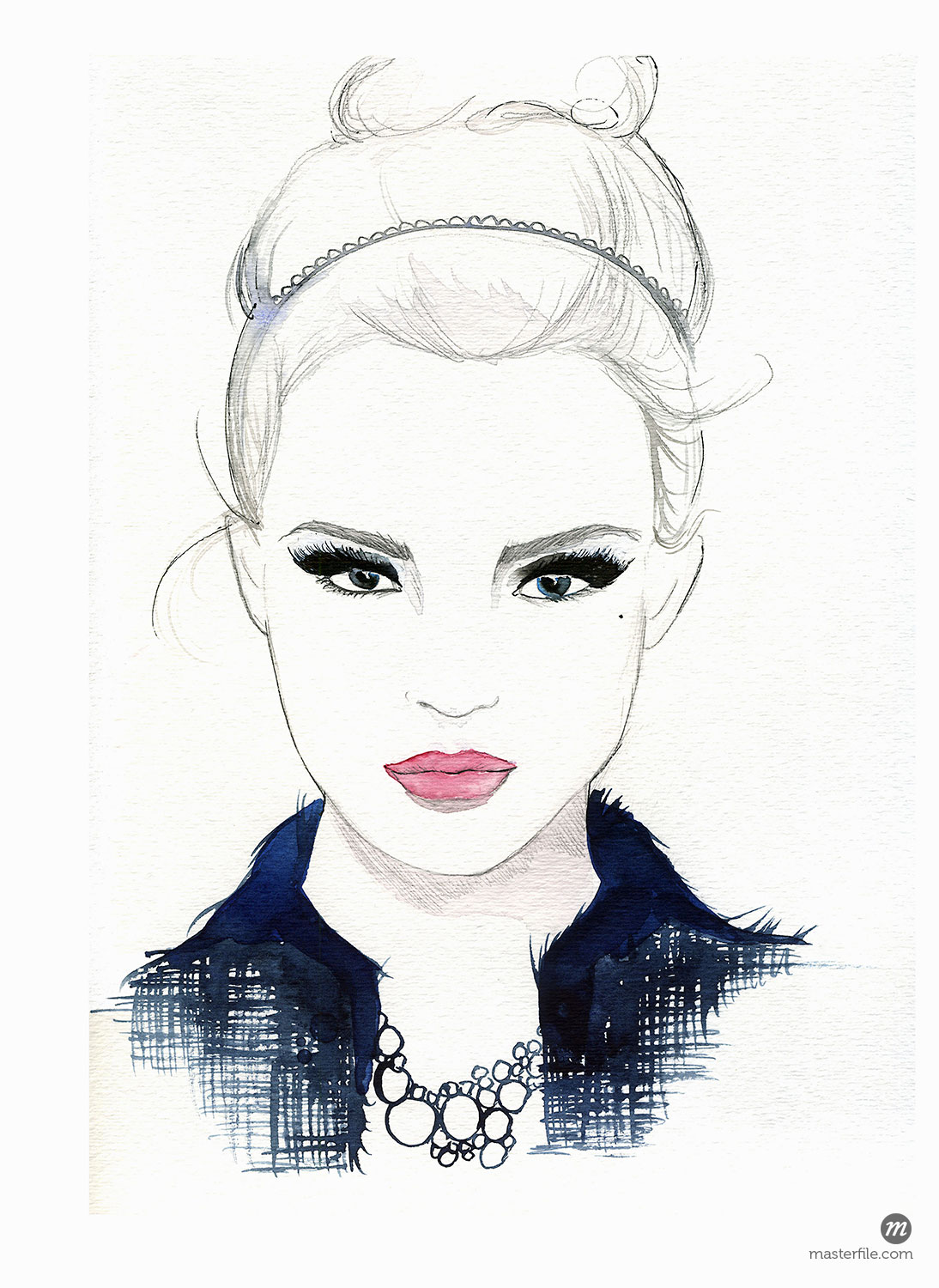 Watercolour portrait of beautiful woman wearing alice band © Jessica Durrant /Ikon Images / Masterfile