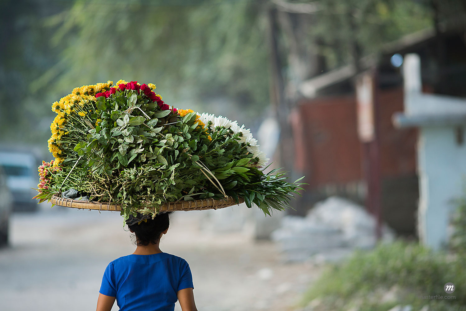 Woman carrying flowers on head to market, Mandalay, Myanmar  © Albert Normandin