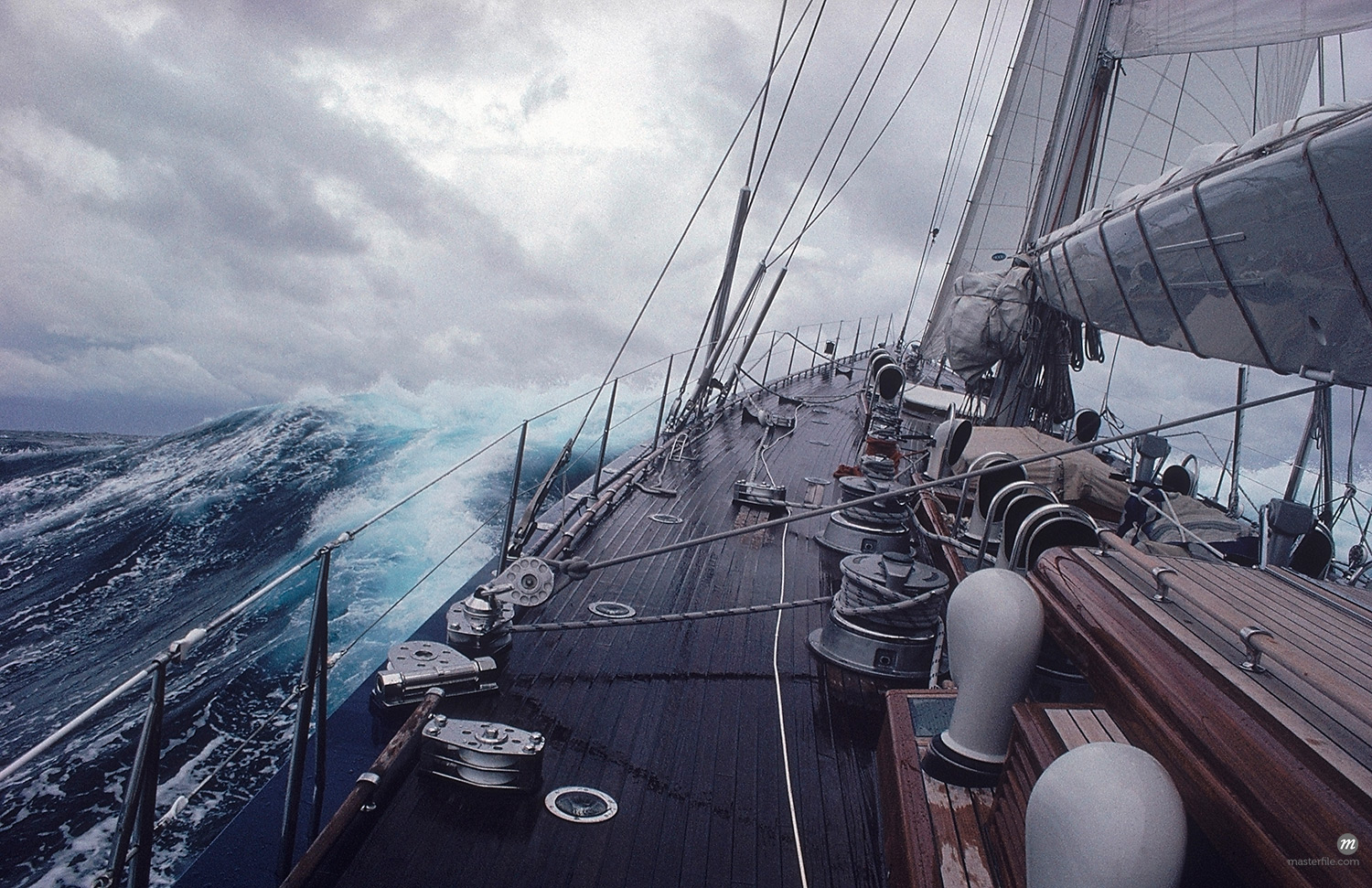 Yacht Endeavour Sailing Through Stormy Seas, Atlantic Ocean  © Michael Eudenbach / Masterfile