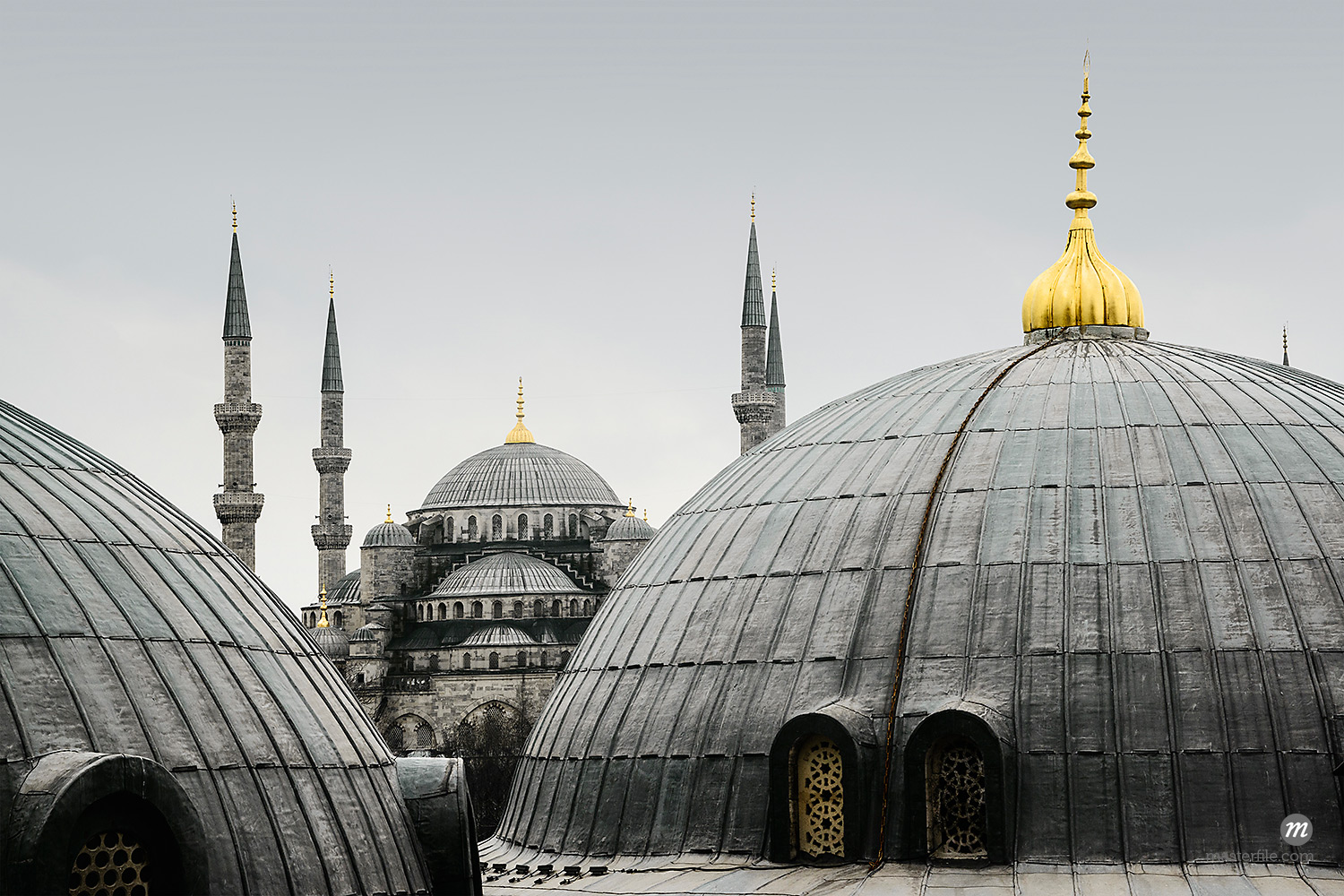 Turkey, Marmara, Istanbul, Blue Mosque, Sultan Ahmed Mosque, Close-Up of Rooftop Domes  © Siephoto / Masterfile
